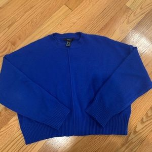 Forever 21 boxy cropped royal blue sweater